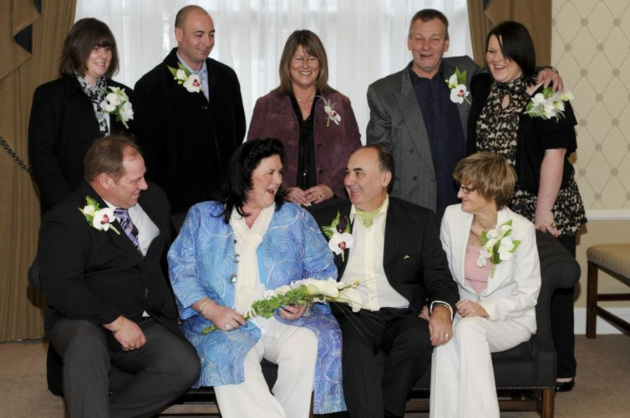 Mike and Maureen with family and friends