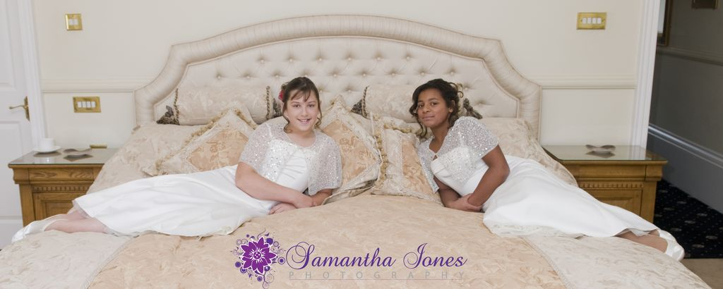 Bridesmaids on bed