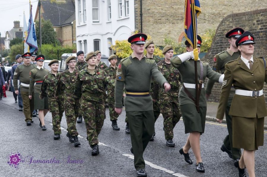 Marching at the Remembrance Day Service in Faversham
