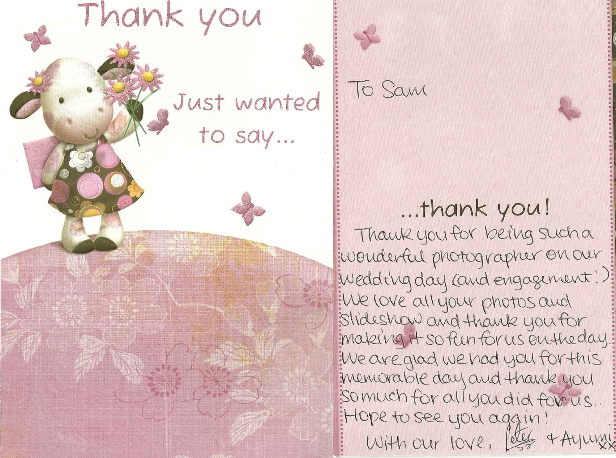Such A Sweet Thank You Card From Ayumi And Peter Samantha Jones