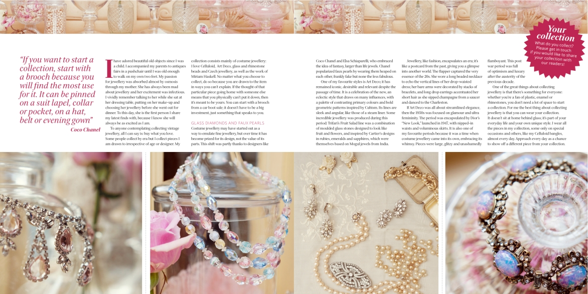 Pretty Nostalgic magazine article on antique jewellery and glass