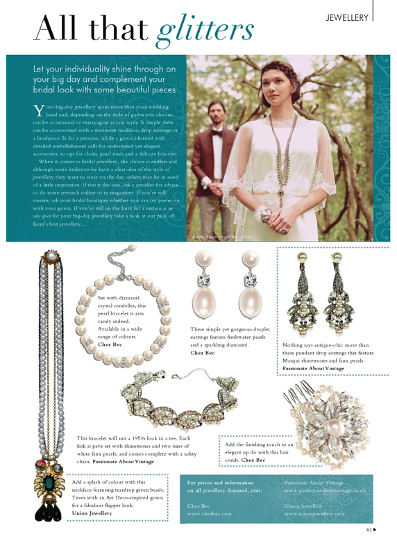 Your Kent Wedding featuring jewellery from Passionate about Vintage