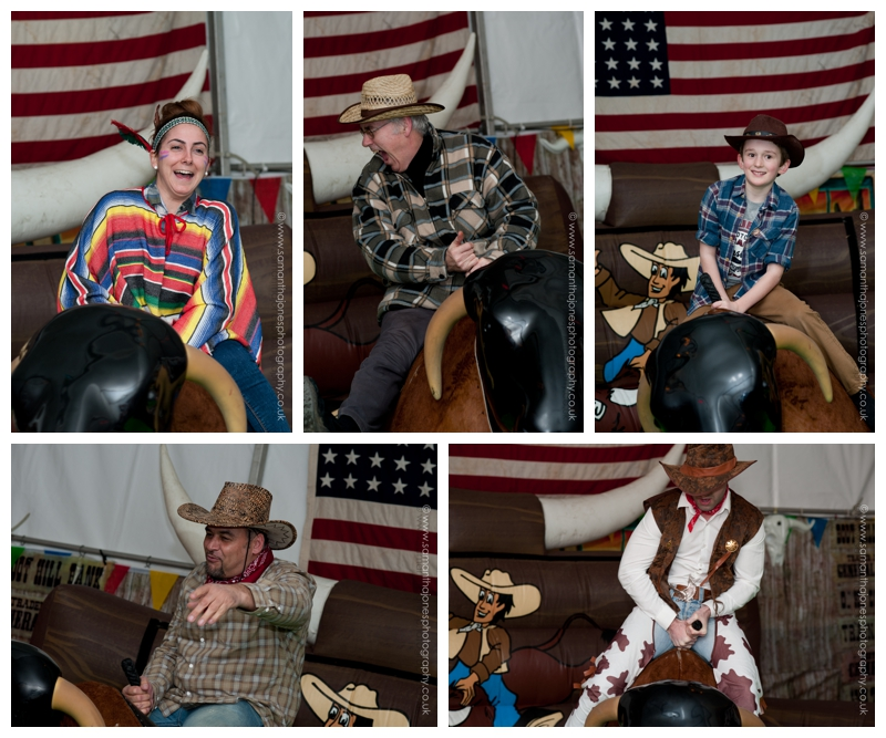 Bucking bronco riders at wedding anniversary celebration