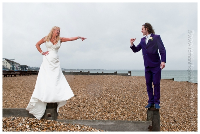 Penelope and Jonathan on the beach at Whitstable
