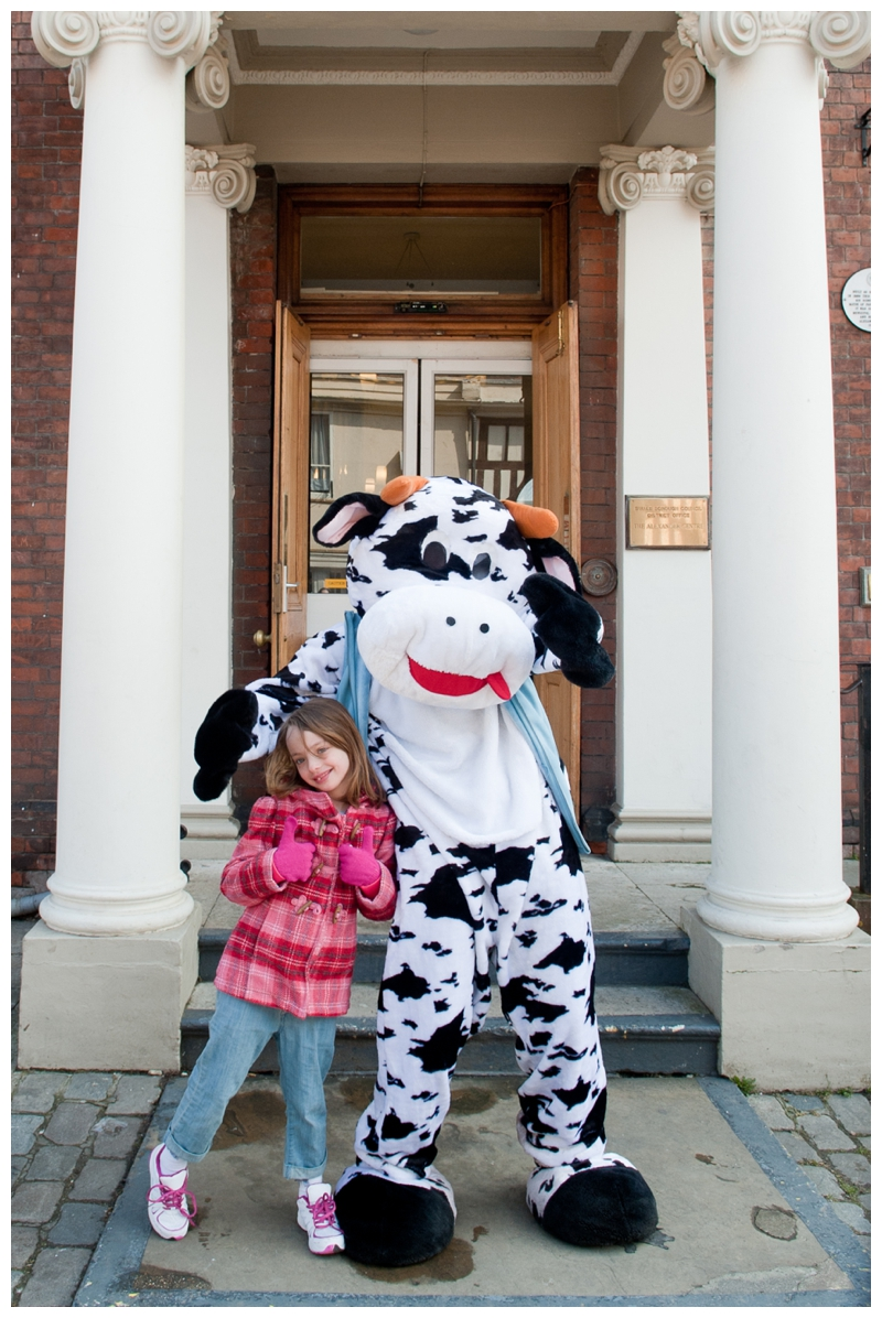 My niece with Khushi the Cow