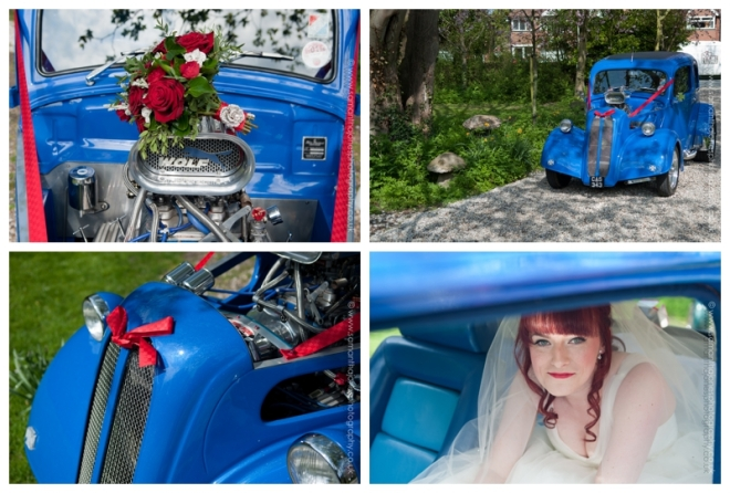 Charlotte arriving at Salmestone Grange in  a Hot Rod by Samantha Jones Photography