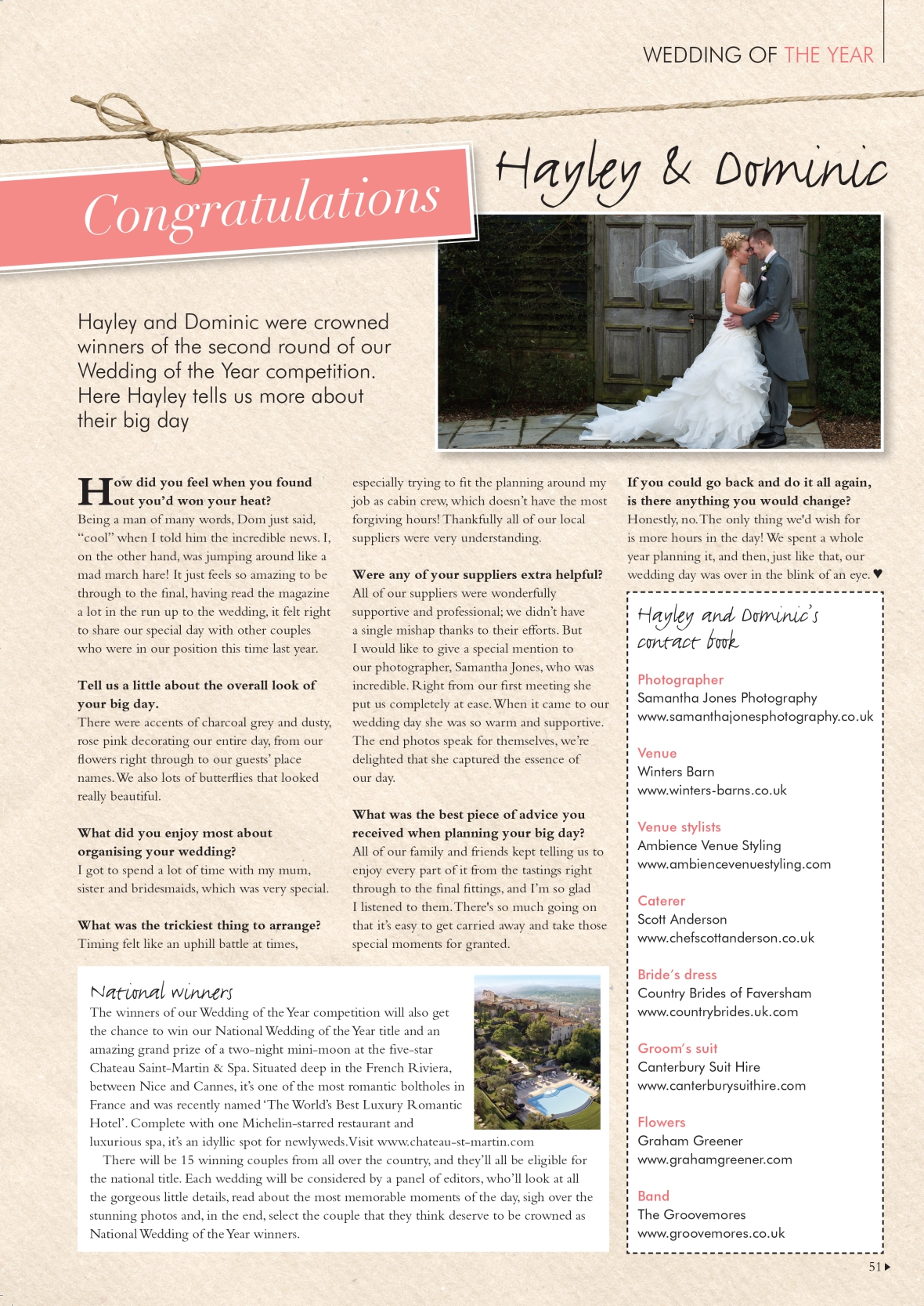 Hayley and Dominic Your Kent Wedding article