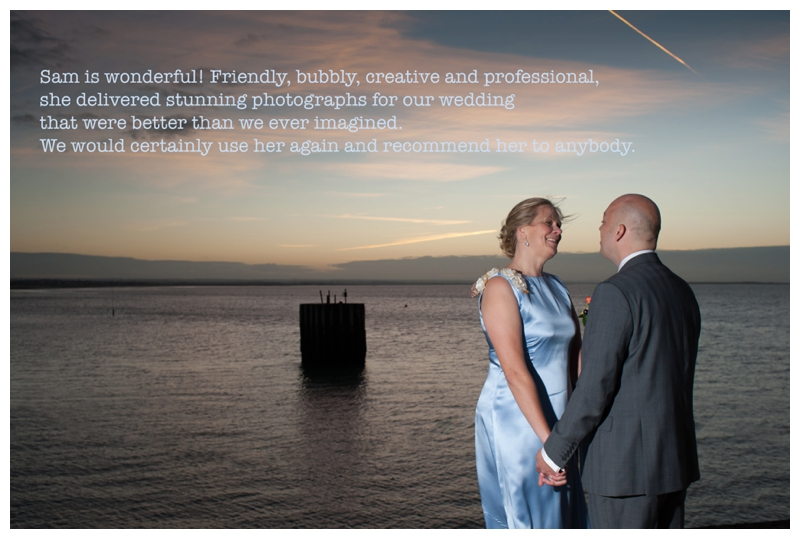 Testimonial from Jill and Kevin from their East Quay wedding in Whistable