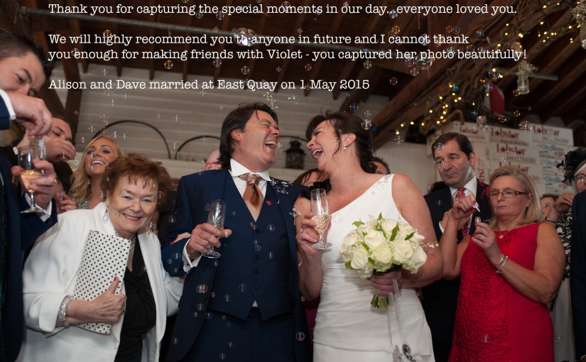 Alison and Dave married at the East Quay in Whitstable – a lovely testimonial!