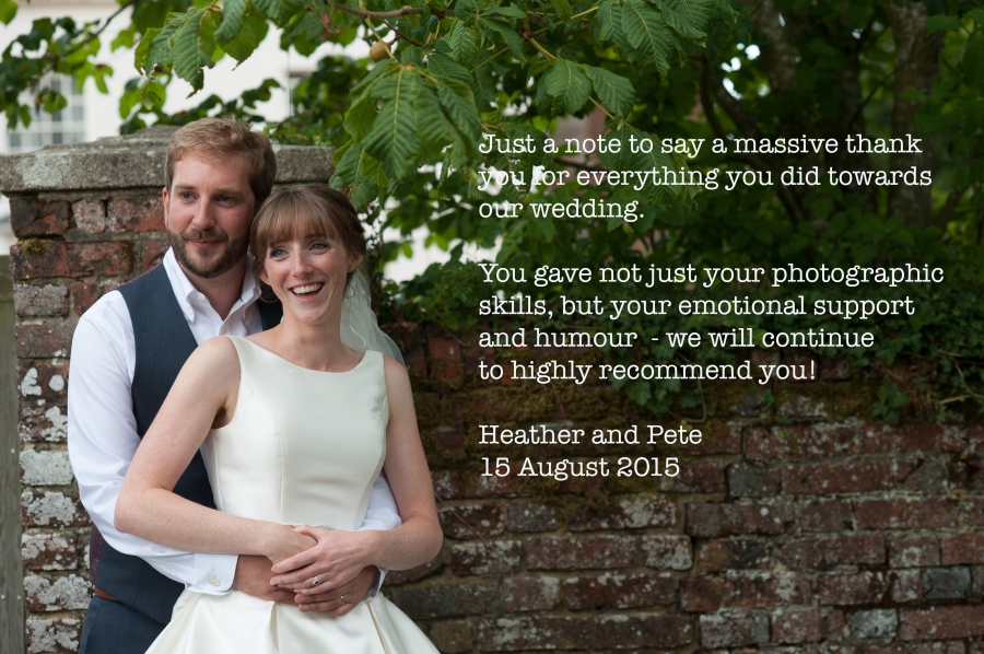 Heather and Pete thank you note