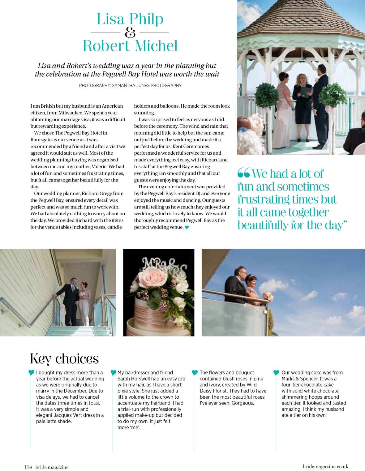 Lisa and Robert wedding at Pegwell Bay in Bride Magazine